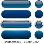 set of blank dark blue buttons... | Shutterstock .eps vector #162842264