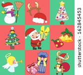 christmas sticker and vector... | Shutterstock .eps vector #162845453