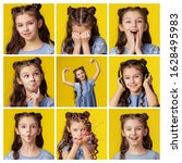 Small photo of Collage of 9 photos of different emotions of a baby girl. Schoolgirl brunette cheerful emotional playful minx. Childhood carefree entertainment. The color background is yellow. Blue dress