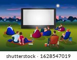 open air cinema vector flat... | Shutterstock .eps vector #1628547019