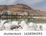 Dead Sea Salt Shore. Salt On...