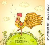 illustration of a sing morning... | Shutterstock .eps vector #162861620
