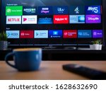 Small photo of UK, Jan 2020: Smart TV showing featured apps on android television screen