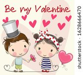 valentines card with cute... | Shutterstock . vector #1628666470