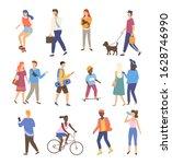man and woman walking outdoor... | Shutterstock . vector #1628746990