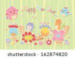 happy new year card.cartoon... | Shutterstock .eps vector #162874820