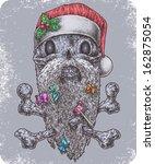 Hand Drawn Santa Skull With...