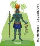 Illustration vector isolated of mythical Hawaiian - Polynesian God, Kanaloa, deep ocean and underworld god.
