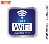 Vector: Free wifi available here sign with blue square isolated. Eps10.