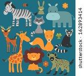 set of cute various wild animals | Shutterstock .eps vector #162893414