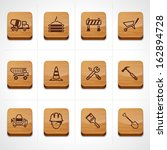 Construction icon set with wood texture button - stock vector