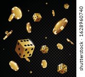 Gold Casino Poker Chips And...