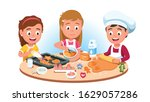 three kids baking cookies.... | Shutterstock .eps vector #1629057286