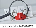 Couple Red Heart Padlock With...