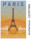 Paris Vintage Poster In Orange...