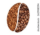 Coffee beans and instant granules shaped into a bean symbol - stock photo