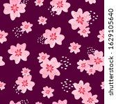 seamless pattern with pink... | Shutterstock .eps vector #1629105640