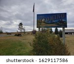 The Welcome to Wyoming sign by Travel Wyoming found at the Bear River Rest Area leading to Bear River State Park along interstate 80 in Evanston, Wyoming in the fall under an overcast morning