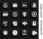 travel icons set on black... | Shutterstock . vector #162913853