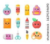 set of kawaii cartoon school... | Shutterstock .eps vector #1629154690