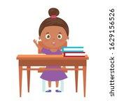 cute little girla afro with... | Shutterstock .eps vector #1629156526