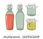 Glass Set Of Jars And Bottles...