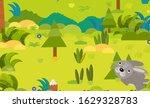 cartoon forest scene with wild... | Shutterstock . vector #1629328783