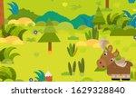 cartoon forest scene with wild... | Shutterstock . vector #1629328840