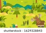 cartoon forest scene with wild... | Shutterstock . vector #1629328843