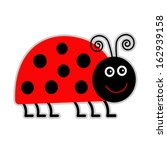 Cute Cartoon Lady Bug. Isolate...