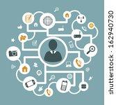 communication icons over blue ... | Shutterstock .eps vector #162940730