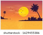 Silhouettes Of Coconut Trees...