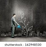 image of businessman watering... | Shutterstock . vector #162948530