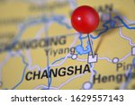 Small photo of Changsha pinned on a map with red pin, China