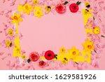 Pink floral spring frame with ...