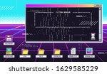 vaporwave 80s interface screen. ...   Shutterstock .eps vector #1629585229