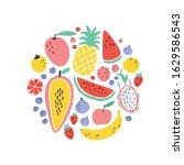 vector tropical fruit circle... | Shutterstock .eps vector #1629586543