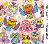 seamless pattern sketch owls on ... | Shutterstock .eps vector #162962480