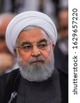 Small photo of YEREVAN, ARMENIA - 1 OCTOBER 2019: President of Iran Hassan Rouhani attends a meeting of the Supreme Eurasian Economic Council in Yerevan, Armenia.