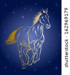 the horse gallops on the... | Shutterstock .eps vector #162969179