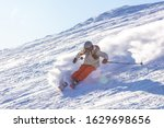 Girl On The Ski. A Skier In A...