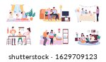 people at home raster  mother... | Shutterstock . vector #1629709123