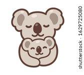 cute cartoon koala mom hugging... | Shutterstock .eps vector #1629725080