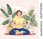 woman sitting cross legged and... | Shutterstock .eps vector #1629754396