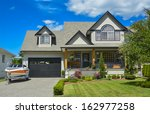 suburban house with landscaping ... | Shutterstock . vector #162977258
