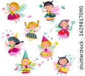 a set of fairy young girls in a ...   Shutterstock .eps vector #1629817090
