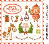 set of christmas and new year's ... | Shutterstock .eps vector #162982130