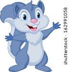 cute squirrel cartoon waving | Shutterstock .eps vector #162991058