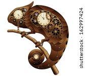 steampunk chameleon vintage... | Shutterstock .eps vector #162997424