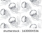 vector monochrome seamless sea... | Shutterstock .eps vector #1630004536